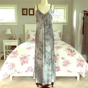 VINCE. Watercolor Marble Silk Midi Slip Dress